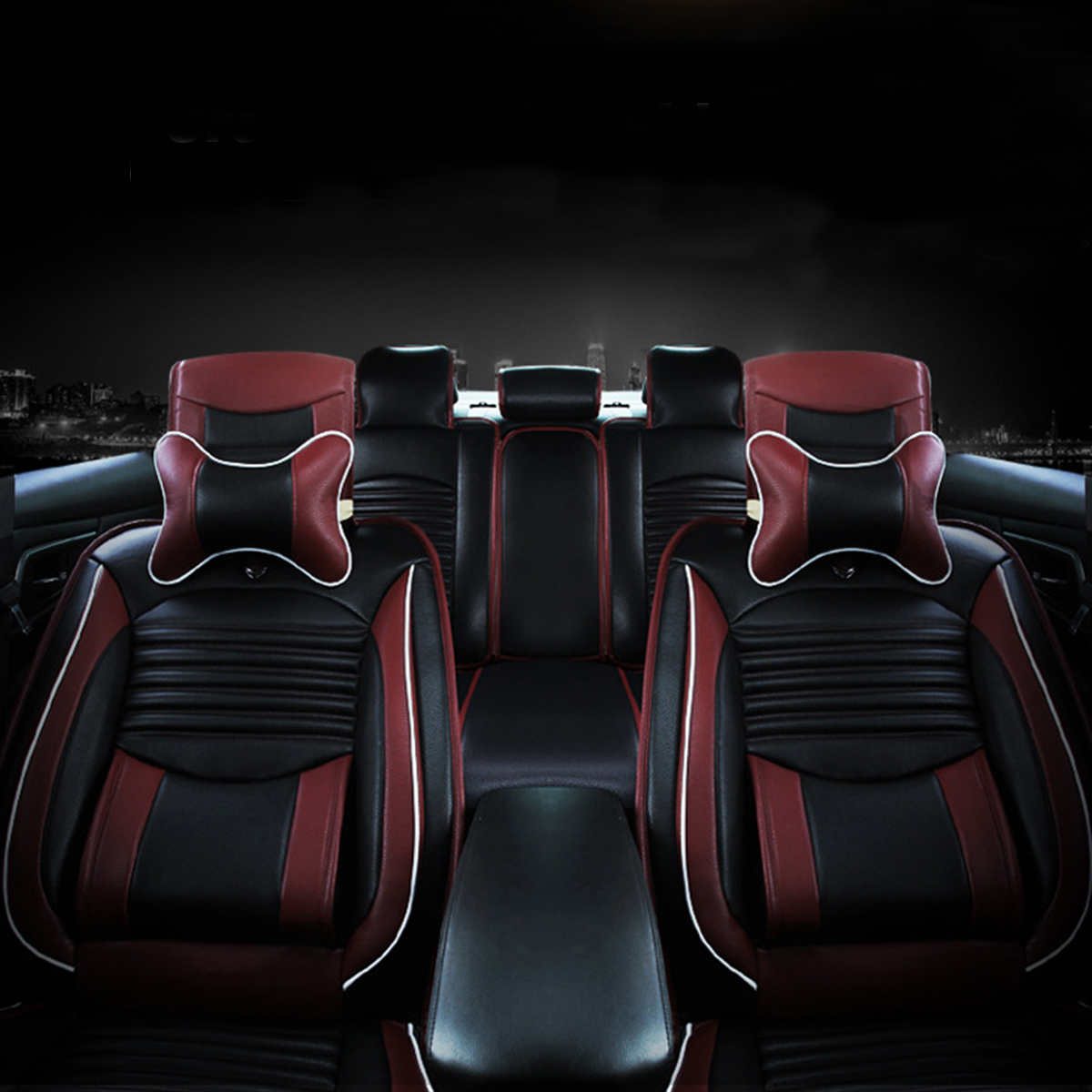 Black Pu Leather Full Surround Car Seat Cover Cushion Front Rear Set Fit For 5 Seat Car
