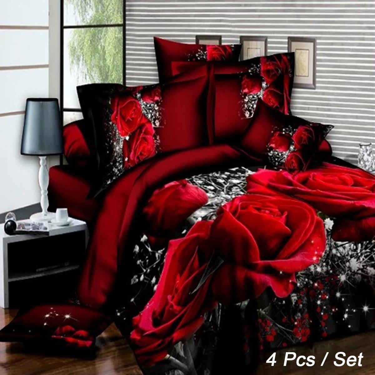 4 шт. 3D-изображения Наборы для постельного белья Комплект подошв 1 Одеяло Обложка 1 Оборудованный лист 2 Подушки