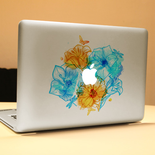 PAG Cute Flowering Shrubs Decorative Laptop Decal Removable Bubble Free Self-adhesive Skin Sticker