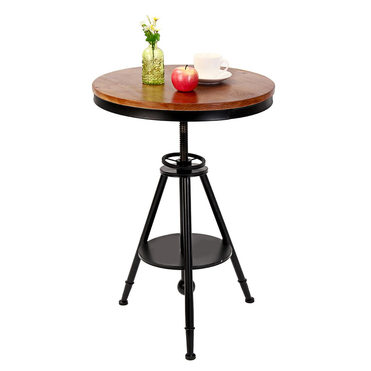55смРетрокруглыйстоловойСкладной стол Lounge Bar Современный металлический деревянный кафе Журнальный столик
