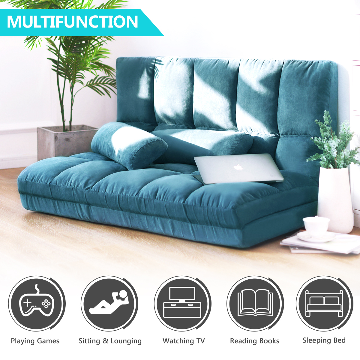 Double Chaise Lounge Sofa Chair Floor Couch Multi