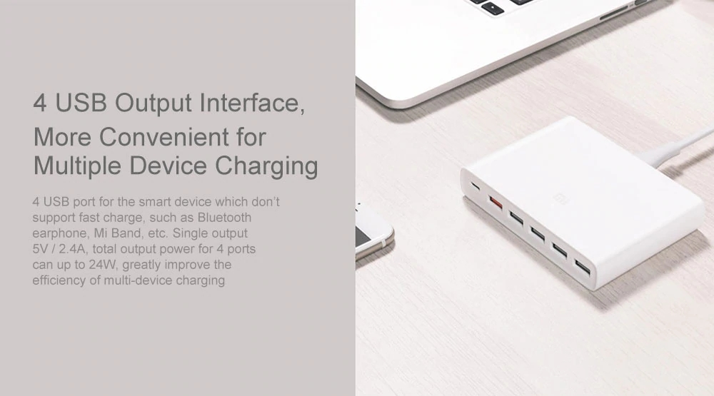 Original Xiaomi USB-C 60W Charger Type-C & USB-A 6 Ports Output Dual QC 3.0 Quick Charger