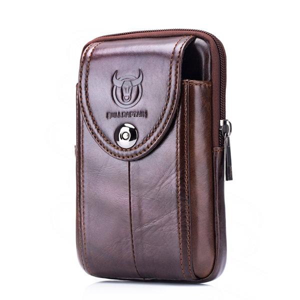 Bullcaptain Bag Men Genuine Leather Loop Belt Phone Bag