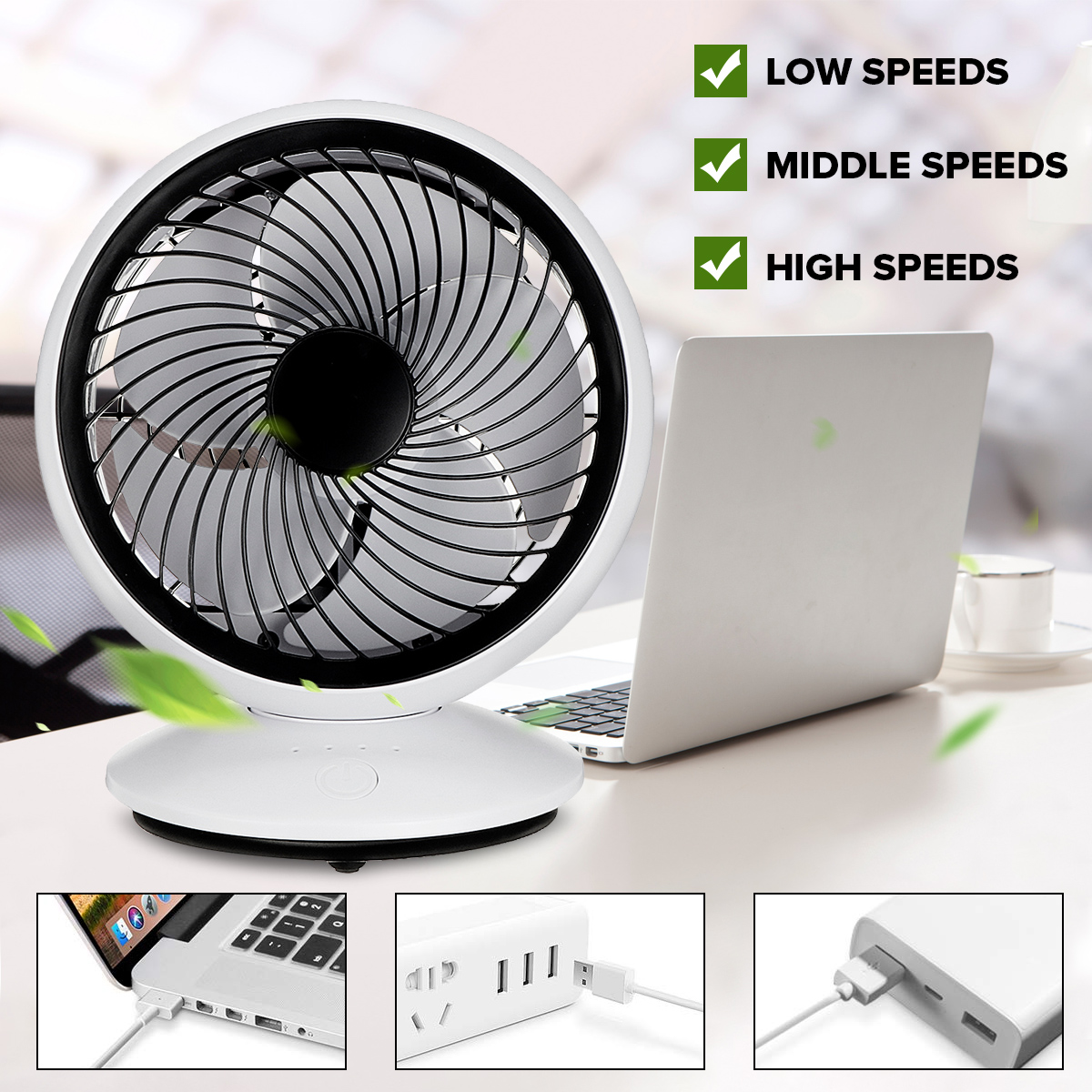 Rechargeable USB Desk Fan Dual Air Head and Flexible Arm Easy to use Portable Fans for Office Indoors Indoor and Outdoor Use Precise Three Kinds of Adjustable Speed
