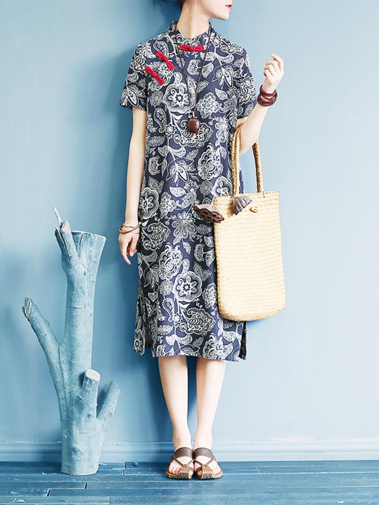 Женская Винтаж Плитка с коротким рукавом с принтом Платье