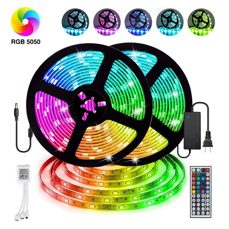 12V LED Light Strip 5M/10M/15M 16.4ft/32.8ft/49.2ft 5050 RGB LED Tape Lights RGB Rope Lights 16 Milions Colors Flexible Changing LED Strip Lights