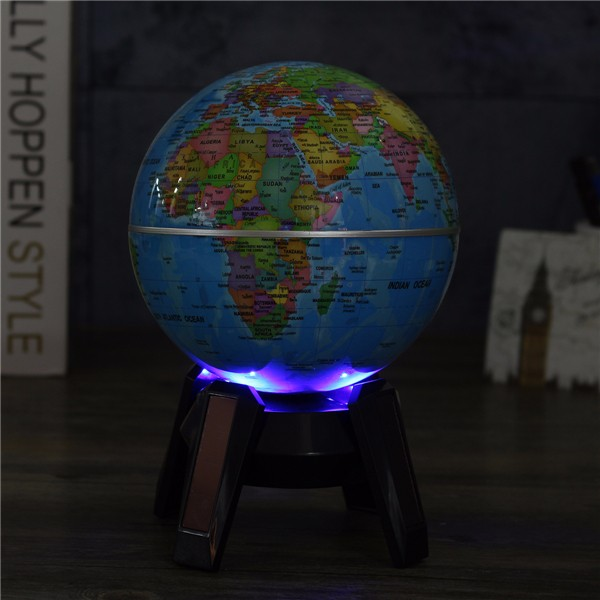 11cm Solar Powered Rotating World Map Globe Geography Atlas with LED Light Stand