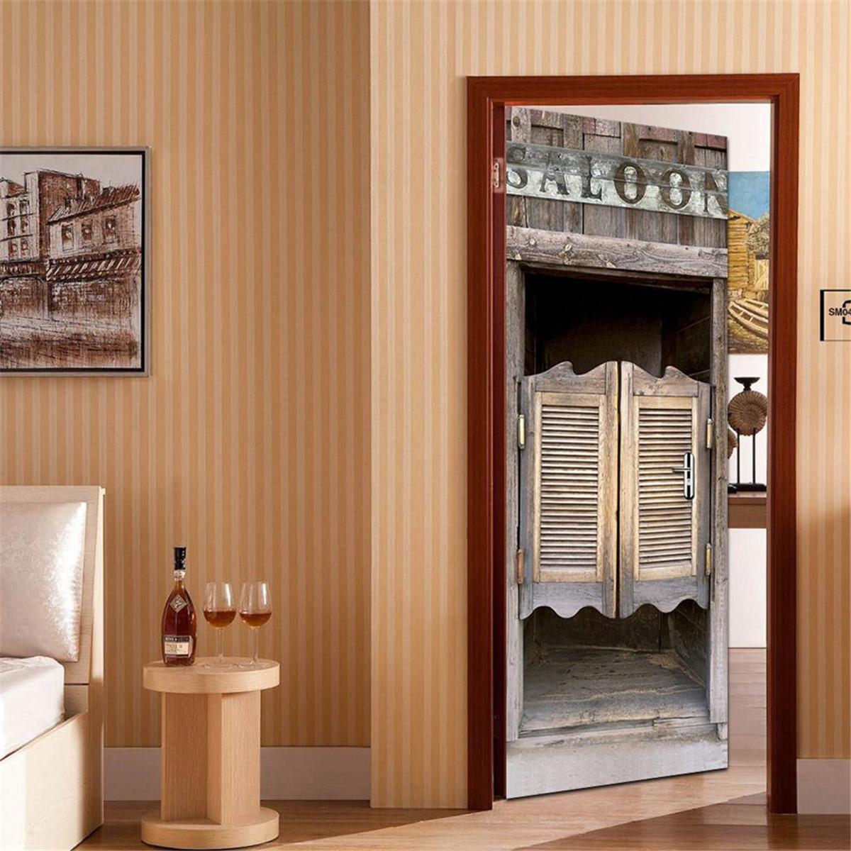 Таверна Деревянные дверные самоклеящиеся наклейки с наклейками 3D стикер стены