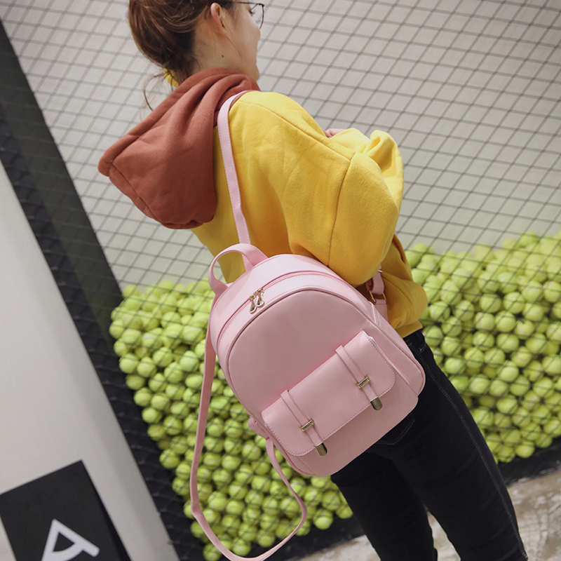 8dc9afcf828c 3 PCS PU Leather Women Backpacks Students Schoolbags