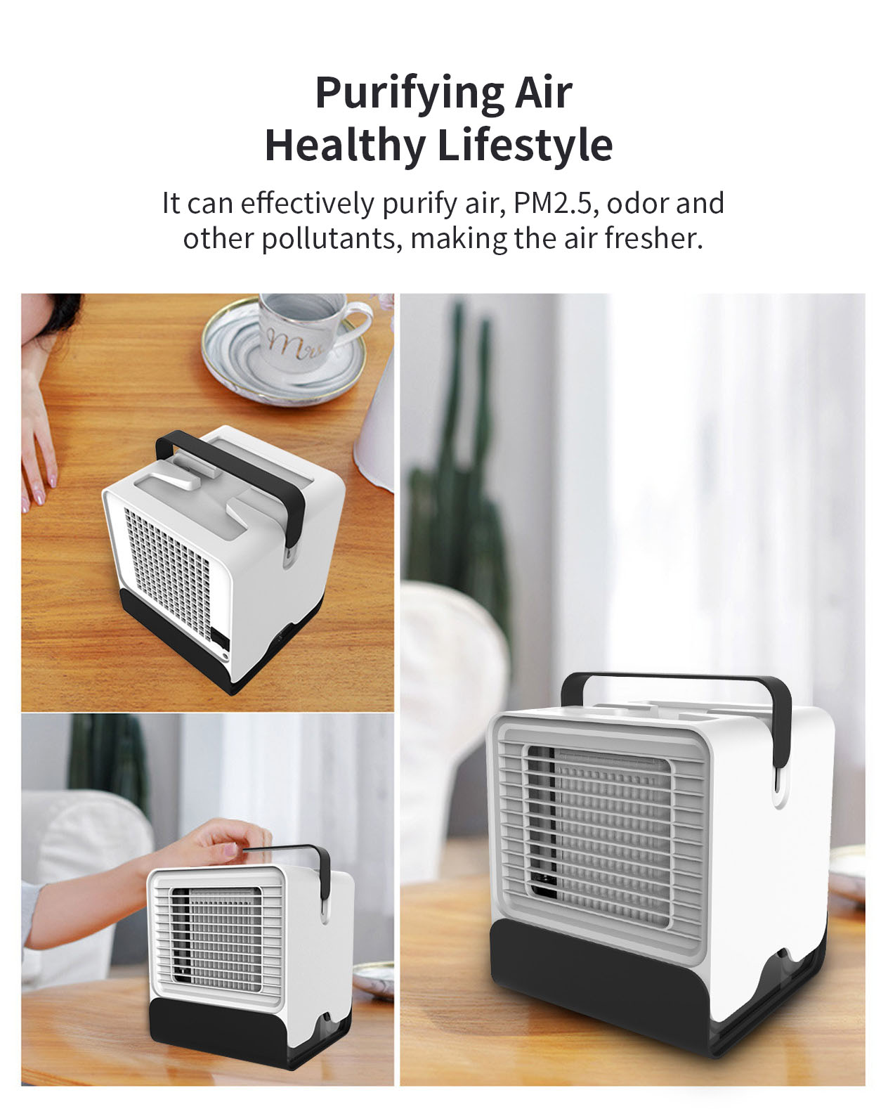 KCASA LFJ-08 Mini USB Cooling Fan Negative Ion Air Conditioning 150ML Night Light Fan Air Cooler Air Humidifier