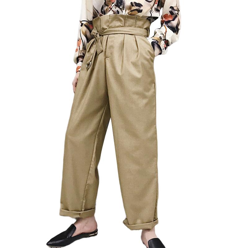 Eachine1 / Cintura alta para hombre de color sólido con cordones de pierna ancha Pantalones