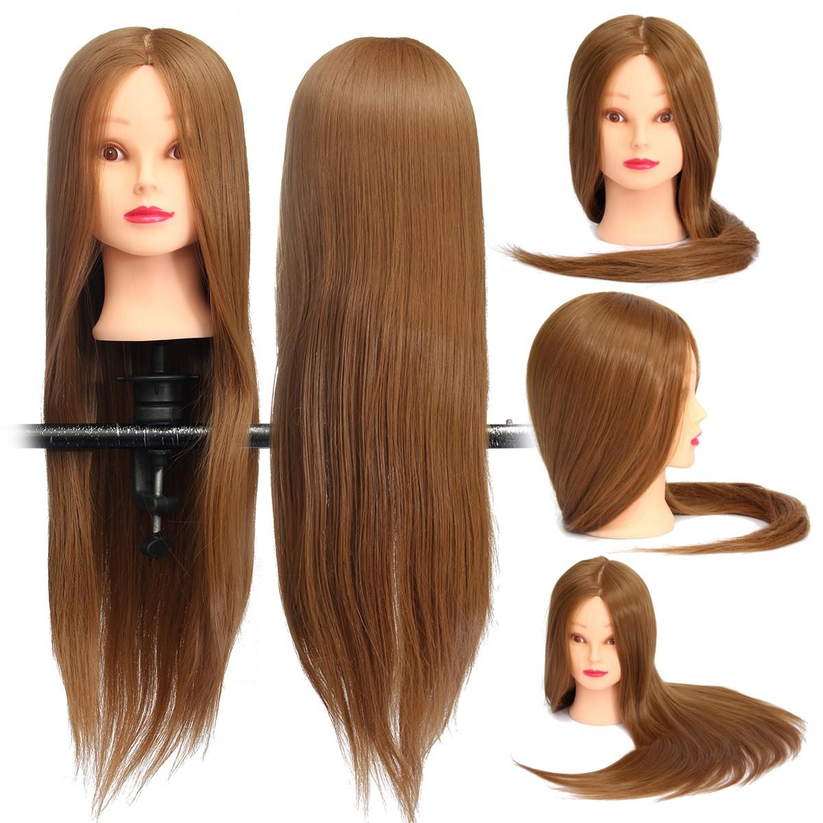 Коричневый 18 дюймов Длинный прямой Волосы Тренировочная модель Манекен-практика Головной салон