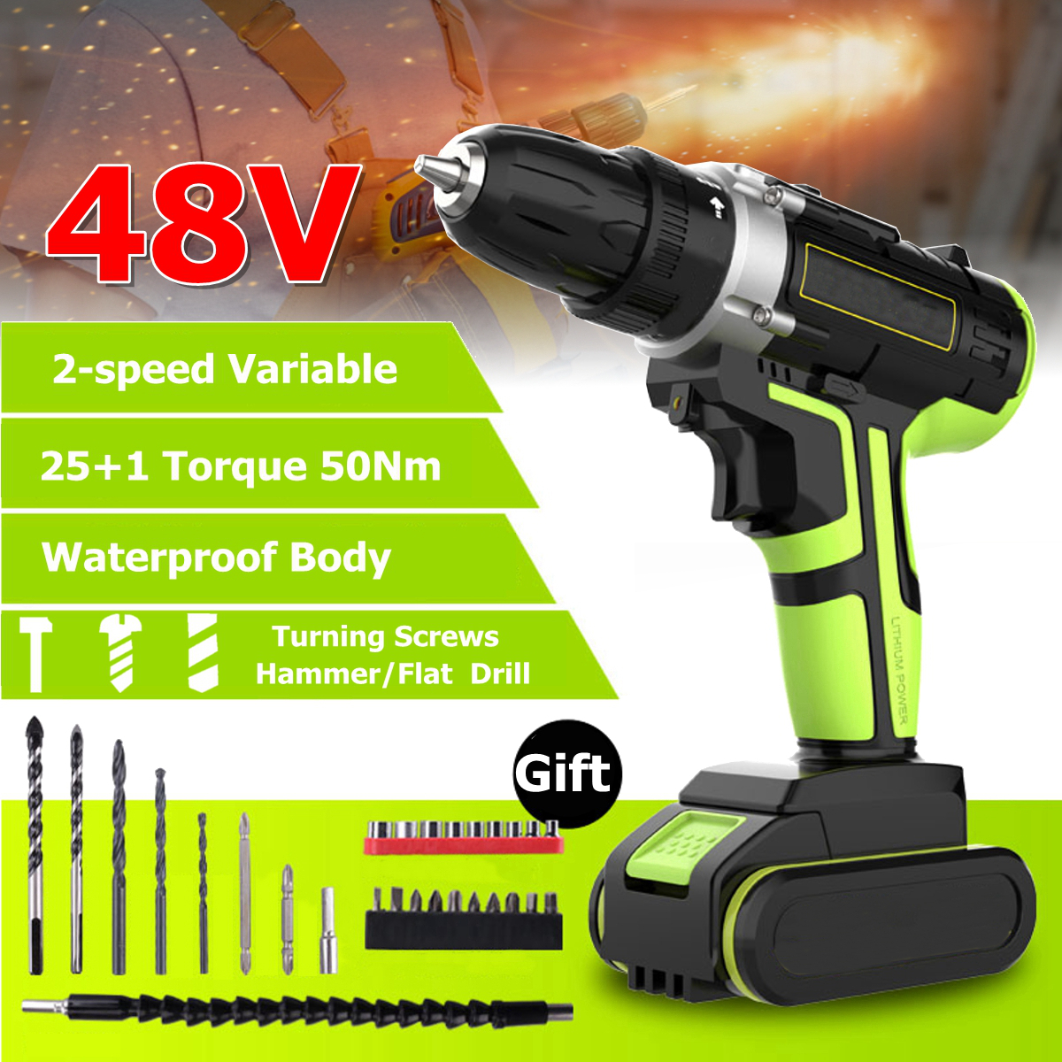 3 In 1 Hammer Drill 48V Cordless Drill Double Speed Power Drills LED lighting 1/2Pcs Large Capacity Battery 50Nm 25 1 Torque Electric Drill