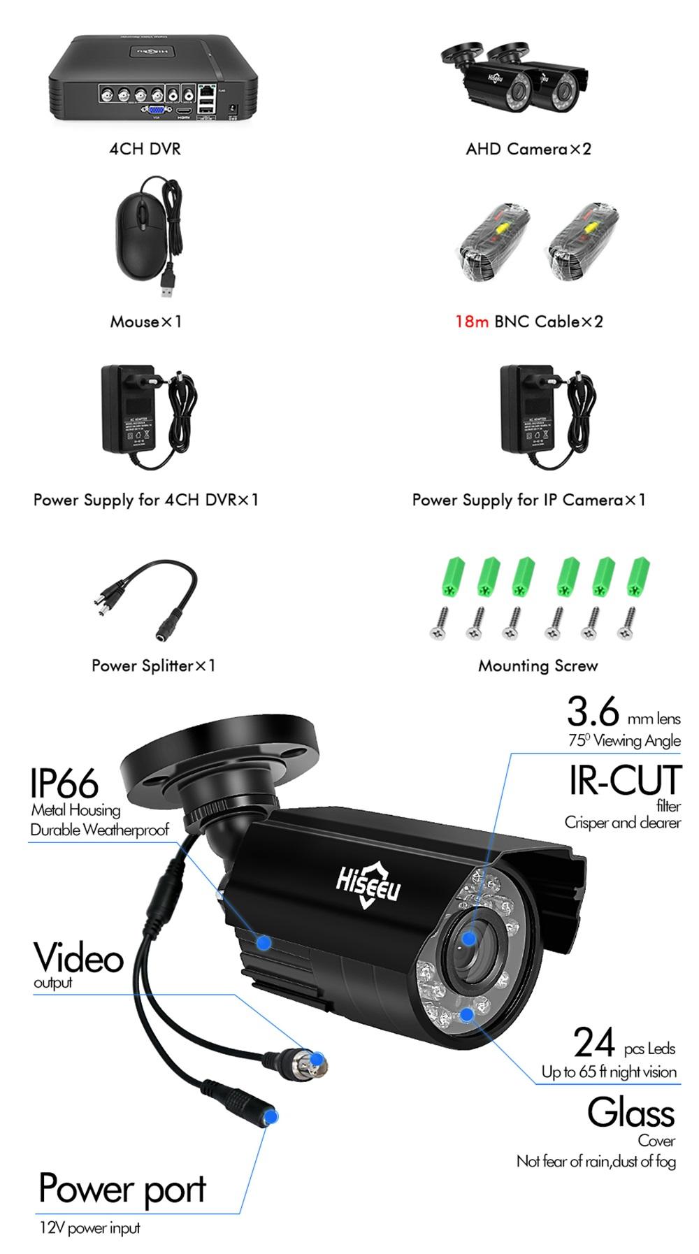 Hiseeu HD 4CH 1080N 5 in 1 AHD DVR Kit CCTV System 2pcs 720P AHD Waterproof  IR Camera P2P Security Surveillance Set