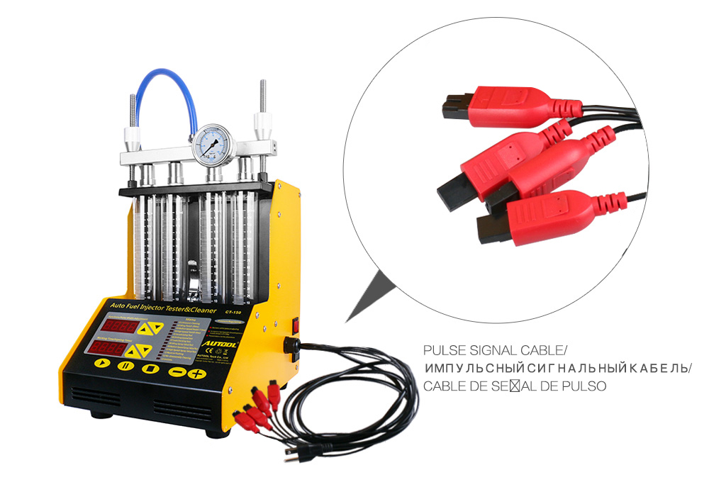 AUTOOL CT150 Car Fuel Injector Tester Ultrasonic Cleaning Cleaner for  Vehicle Repair 4 Cylinder Diagnostic Tool