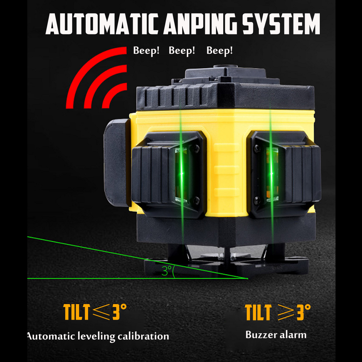 0bbae286 767f 414f ab89 272158fafaaf 360° Rotary 16 Lines Self Leveling Laser Level 4D Green Beam Auto Measuring Tool