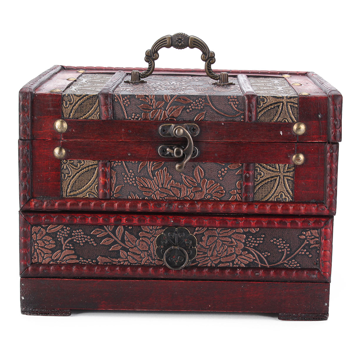 Vintage Antique Wooden Made Jewelry Box Accessories Collection Storage