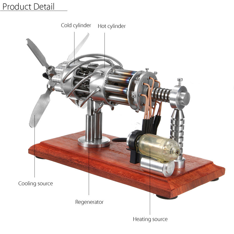 STARPOWER 16 Cylinder Hot Air Stirling Engine Motor Model Creative Motor  Engine Toy Engine With Free Gift