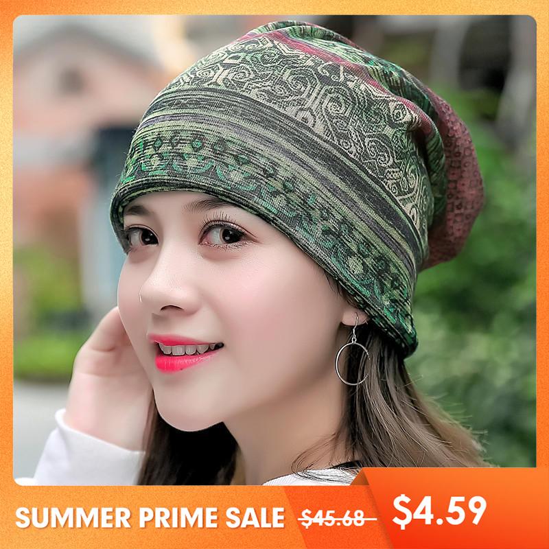 Купить со скидкой Women Cotton Ethnic Plaid Multifunctional Beanie Hat