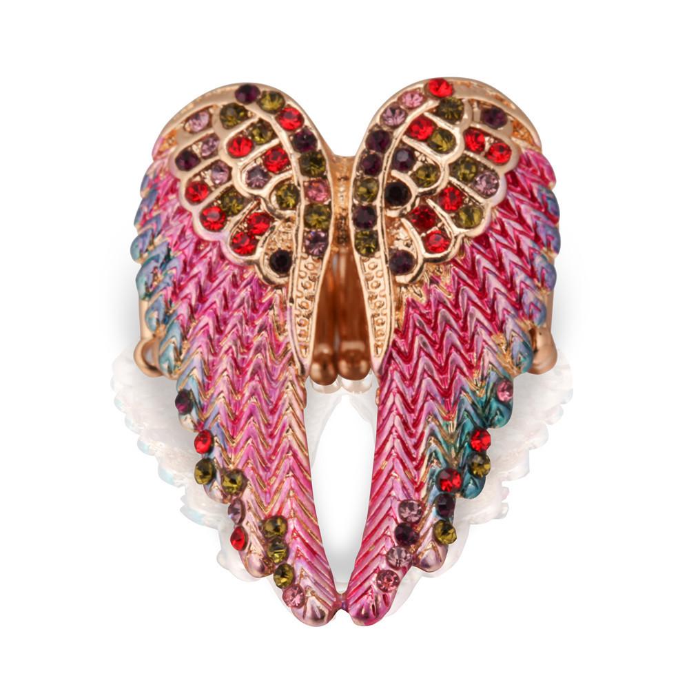 Vintage Inlaid Angelic Angel Wings Ring Elasticity Rings