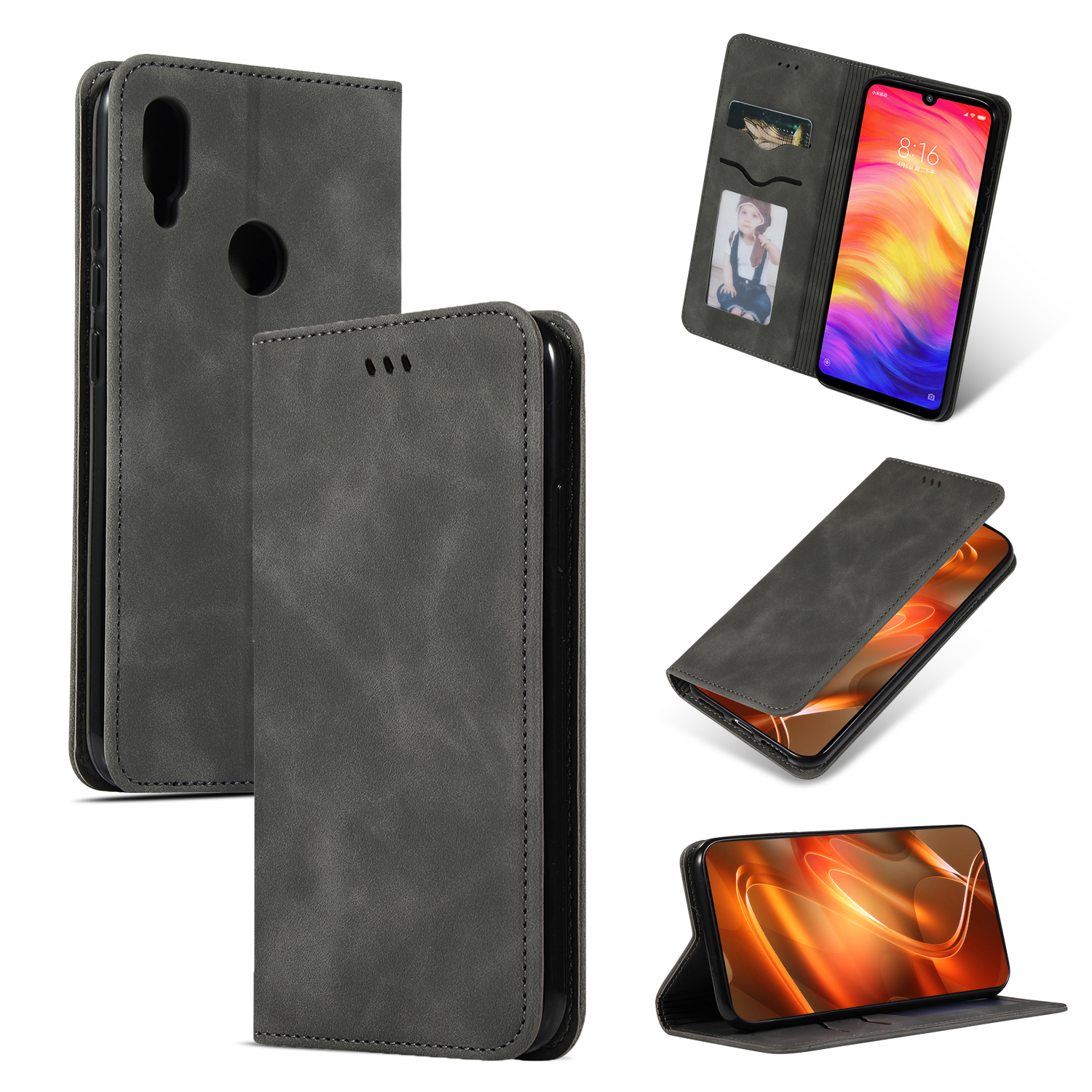 Bakeey Flip Shockproof Card Slot With Magnetic PU Leather Full Body Protective Case For Xiaomi Redmi Note 7 / Redmi Note 7 Pro