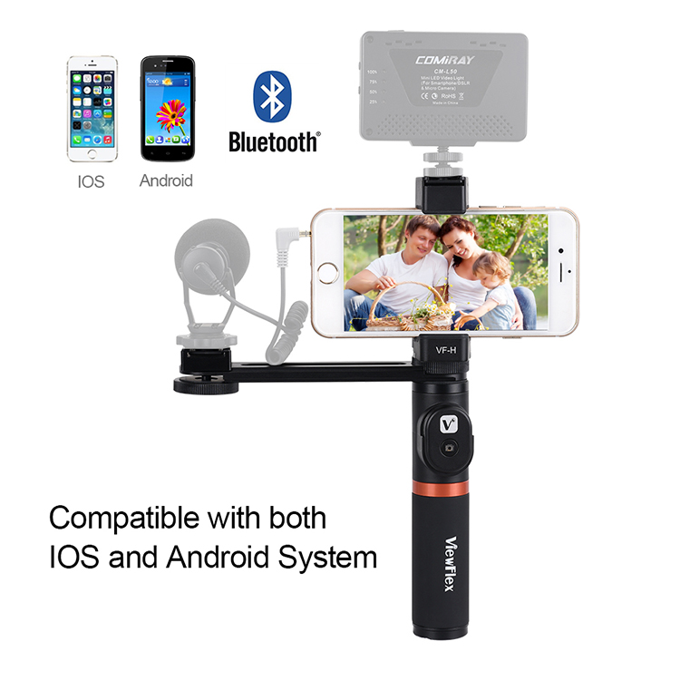 VIEWFLEX VF-H4 bluetooth Electronic Video Grip Stabilizer with Smartphone  Clamp Remote Control Handle Connecting Rod for iPhone for Samsung for  Huawei
