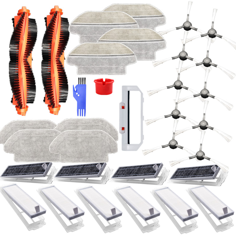 33pcs Replacements for Mijia STYTJO2YM Viomi V2 V2 Pro V3 Vacuum Cleaner Parts Main Brushes*2 Main Brush Cover*1 Side Brushes*10 HEPA Filters*6 Activated Carbons*4 Cleaning Tools*2 Wet Mop Clothes*4 Wet and Dry Mop Clothes*4 [Non-Original] 1