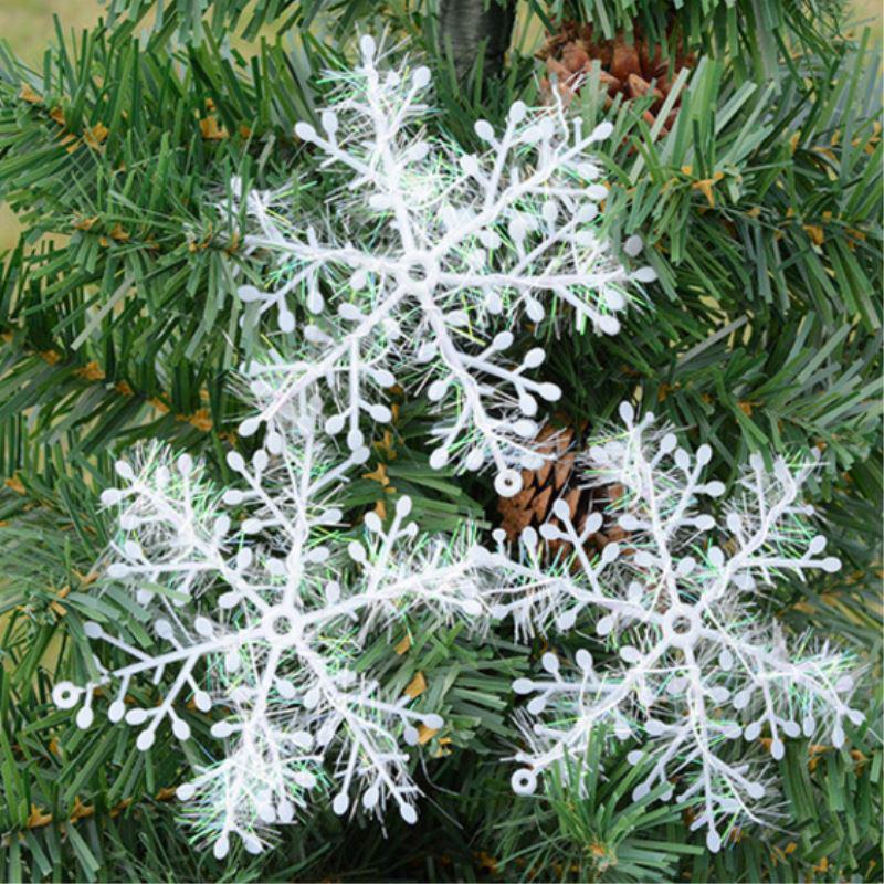 Рождественская елка украшения 3 / 6pcs снежинки белые пластиковые искусственные снег рождественские украшения