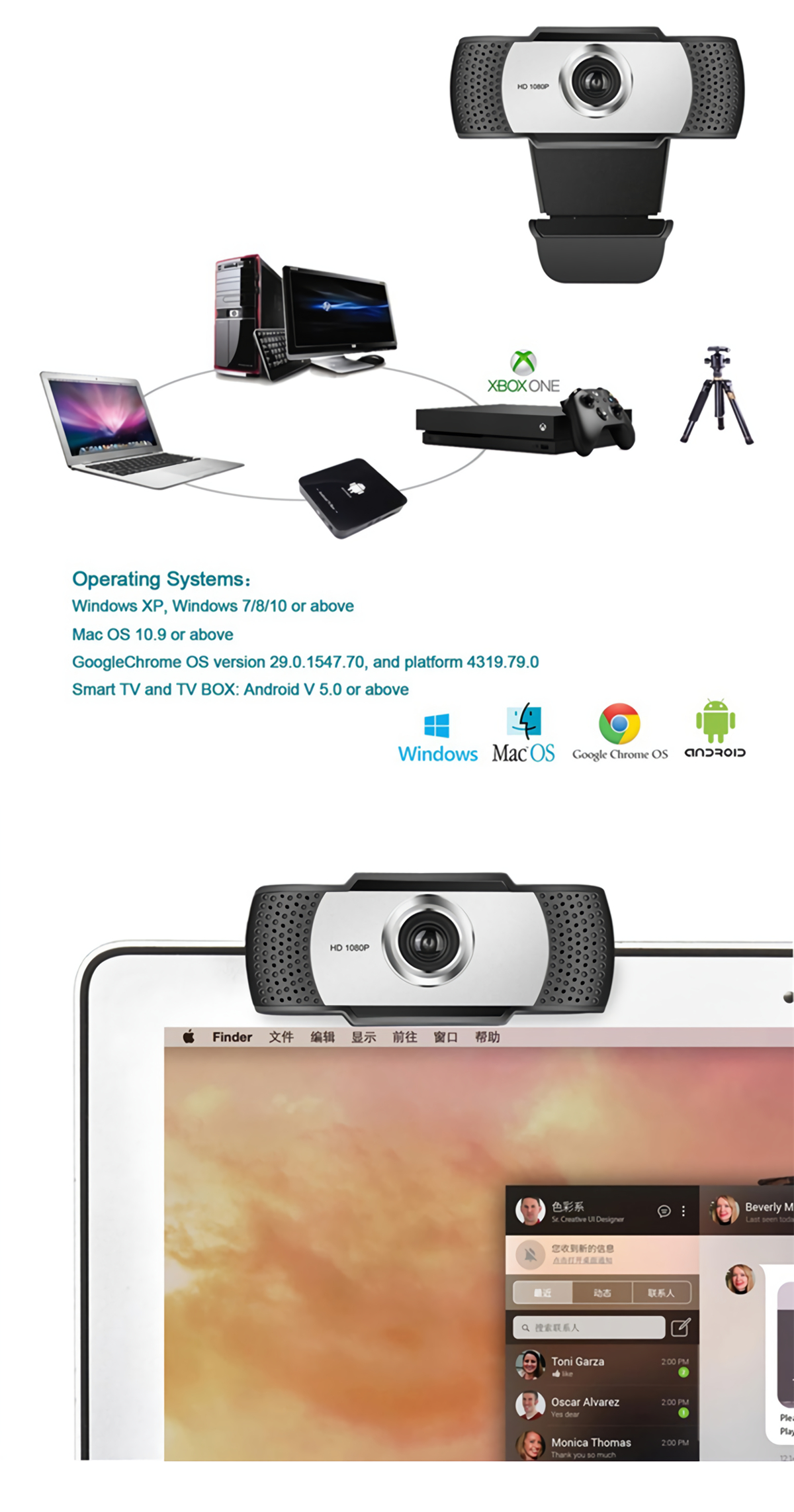 A8 HD 1080P USB 2.0 HD Webcam Camera With Built-in Microphone 2