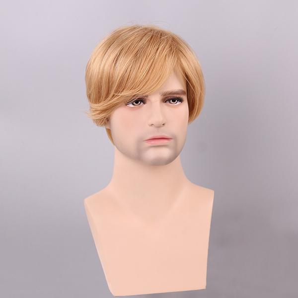 Блондинка мужчин короткие парик человеческих волос мужской моно топ Remy девственницы монолитным сторона взрыва