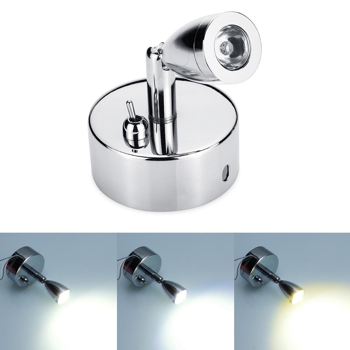Chrome LED Точечные лампы для чтения с тумблером 12-24 В 1 Вт для автоприцепа-фургона Лодка