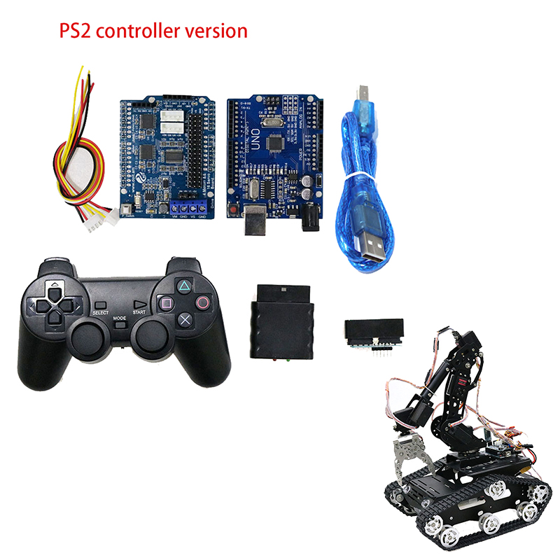 7Dof PS2 Control/WiFi Robot Arm Car Mobile Platform DIY Kit with Wifi  Model/PS2 Controller/Motor Driver Board for Arduino-UNO