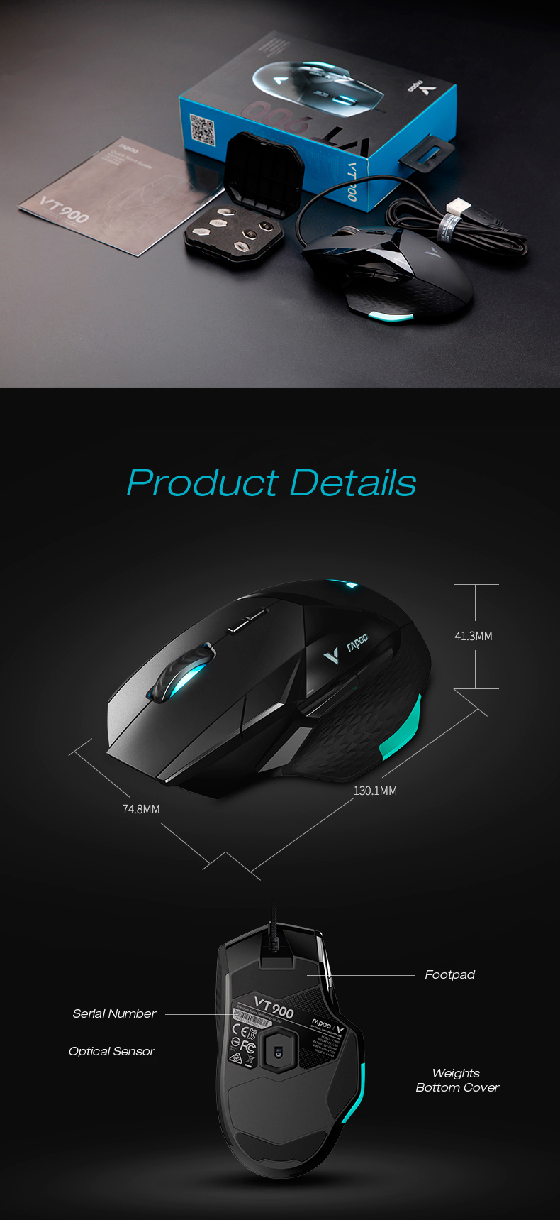 Rapoo VT900 16000DPI RGB Backlit IR Optical Gaming Mouse FPS Mouse with  OLED DIY Display