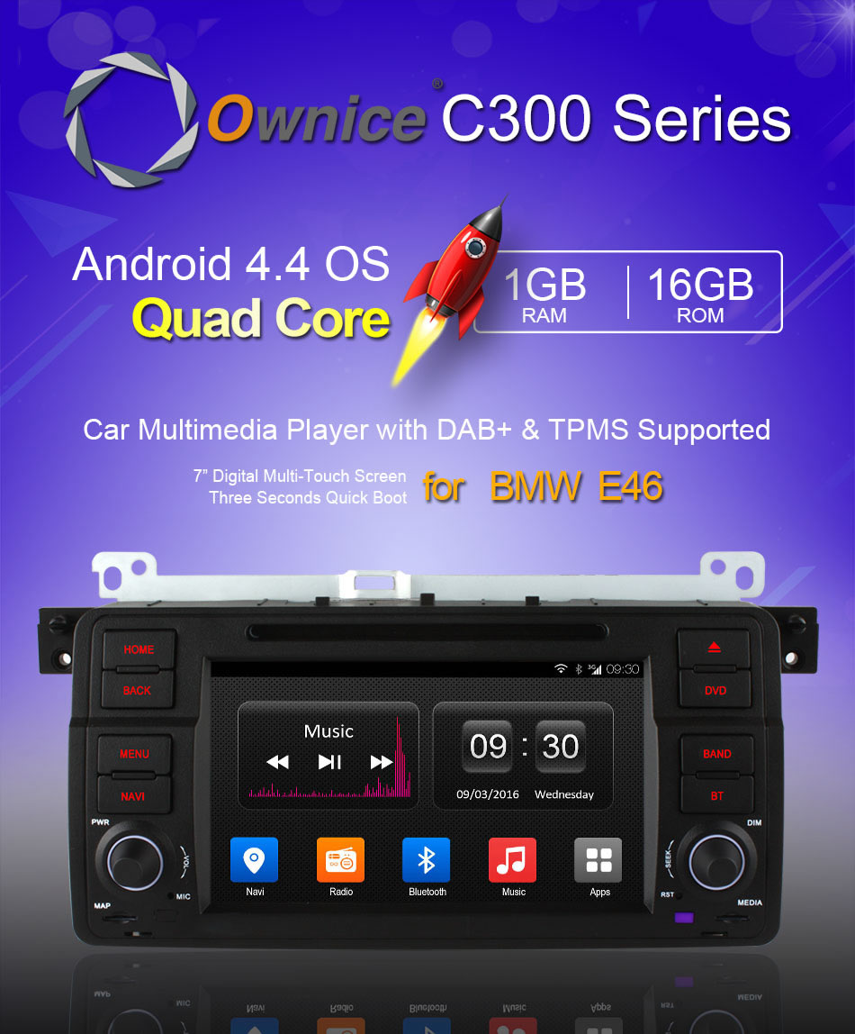 Ownice C300 Ol-7956t Android 4.4 Quad Core Car Gps