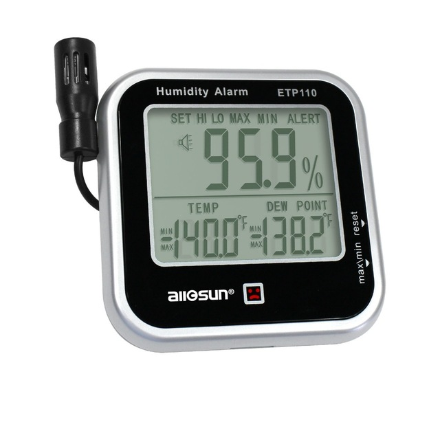 ALL SUN ETP110 Digital Indoor Thermo-Hygrometer Humidity and Temperature Monitor Alarm Large LCD Display Dew Point Tester