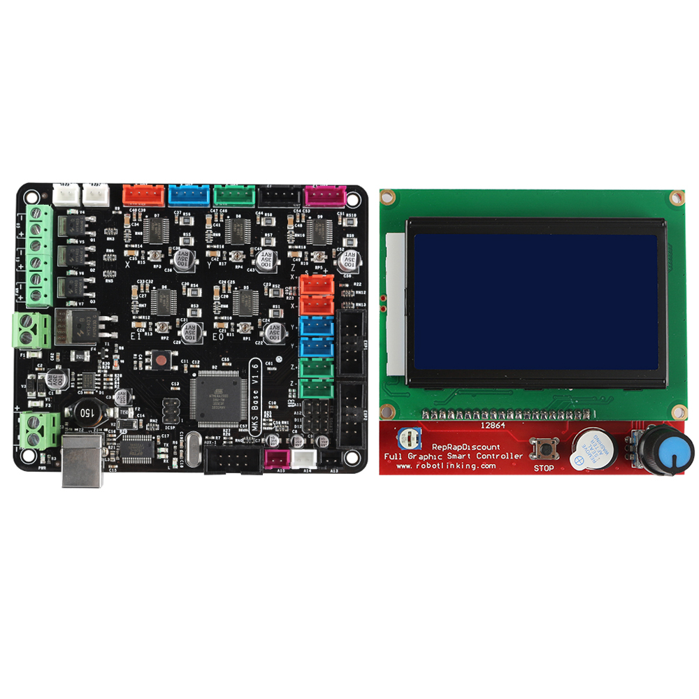MKS BASE V1 6 Integrated Motherboard with 12864 LCD Screen Kit for 3D  Printer