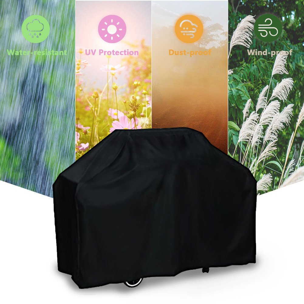 Barbecue Grill Cover Outdoor Waterproof Breathable Dustproof Durable Polyester PU Material BBQ Cover