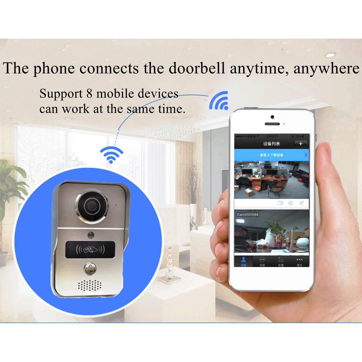 Wireless Wifi Video Camera Intercom Phone Door Bell Night Version+5 RFID  Card