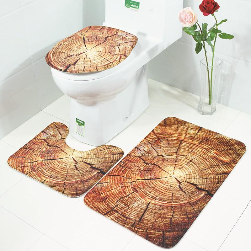 Honana BX 3 шт. Creative Wood Шаблон Non Slip Carpet Ванная комната Коврик для ванной Туалетная крышка для туалета