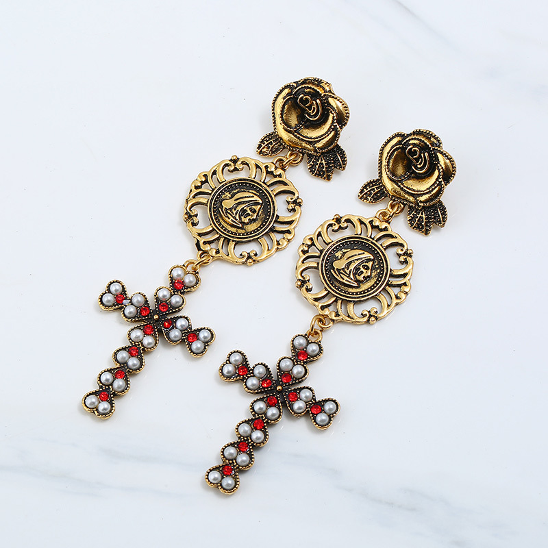 Vintage Women Rose Flower Drop Long Dangle Cross Earrings