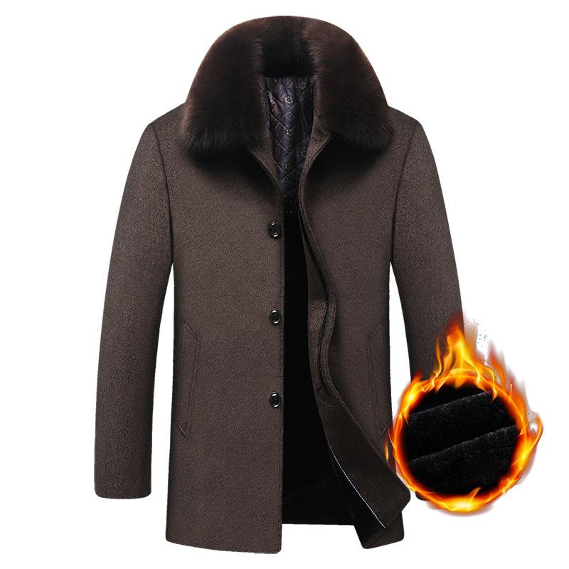 Mens Woolen Thick Fleece Lining Winter Detachable Fur Collar Trench Coats