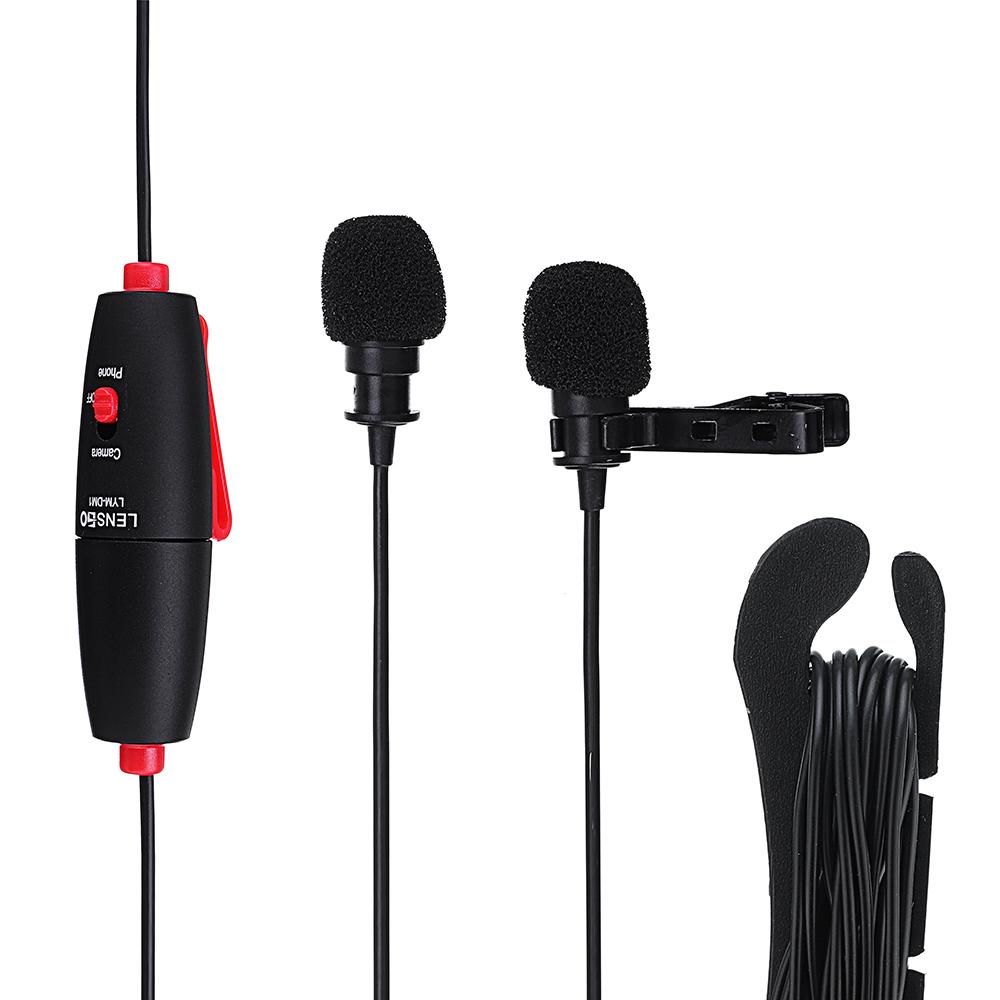 LENSGO LYM-DM1 2-в-1 Всенаправленный конденсатор видео интервью Lavalier Микрофон с кабелем 6 м