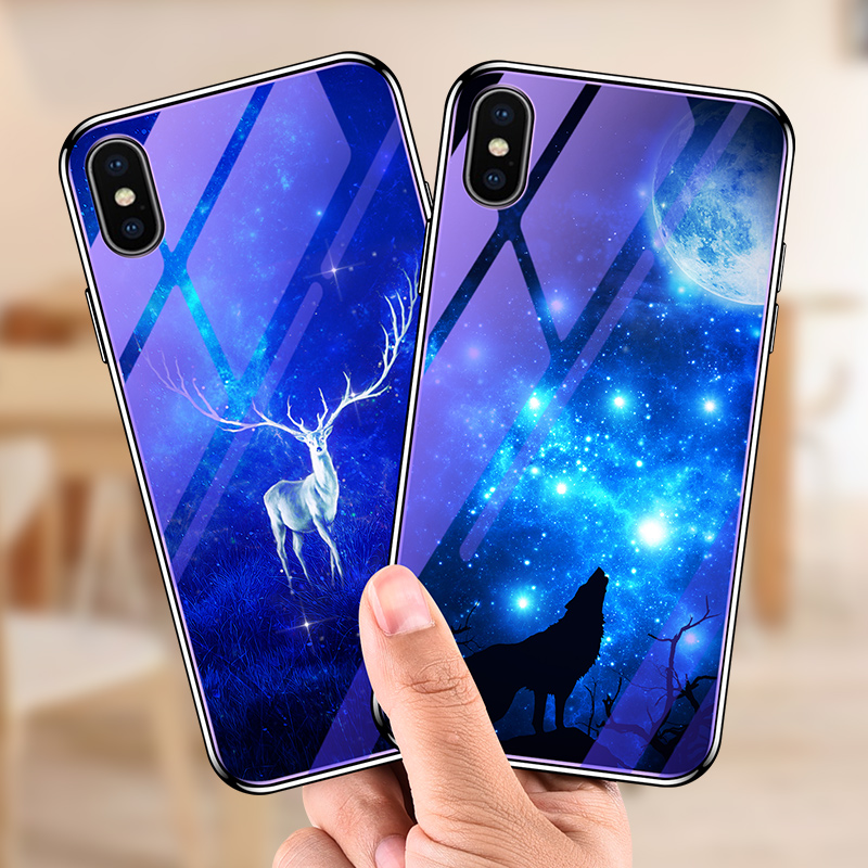 Bakeey Plating Blue-Ray Tempered Glass Soft TPU Ed
