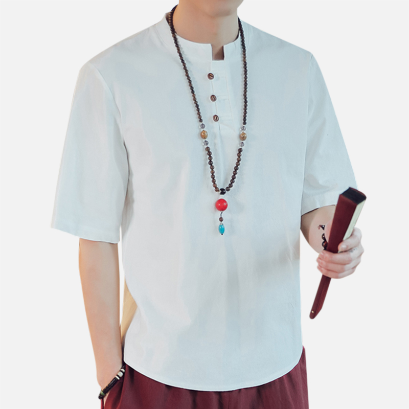 Mens Vintage Chinese Style Solid Color Linen T-shirts
