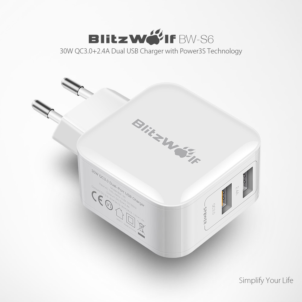 BlitzWolf® BW,S6 QC3.0+2.4A 30W Dual USB Charger EU Adapter for iphone 8 8  Plus iphone X Xiaomi
