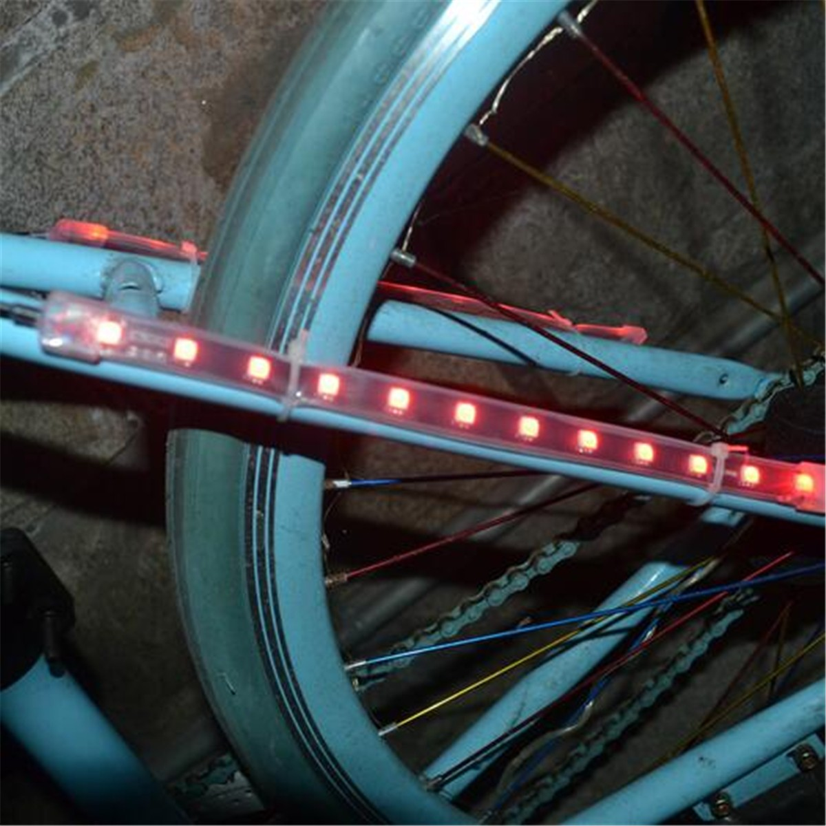 MTB Road Bike Bicycle Fork Strip Light Bar 12 LED 8 Modes Waterproof Wheel Lamp