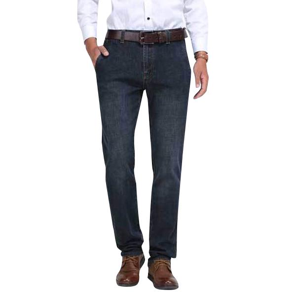 Mens Mid Waist Cotton Straight Legs На открытом воздухе Повседневный Джинсы Твердый цвет джинсовой ткани Брюки