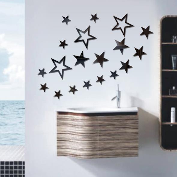 3D Star Multi-color DIY Форма Зеркало Стены Стикеры Главная Стена Спальня Офис Декор
