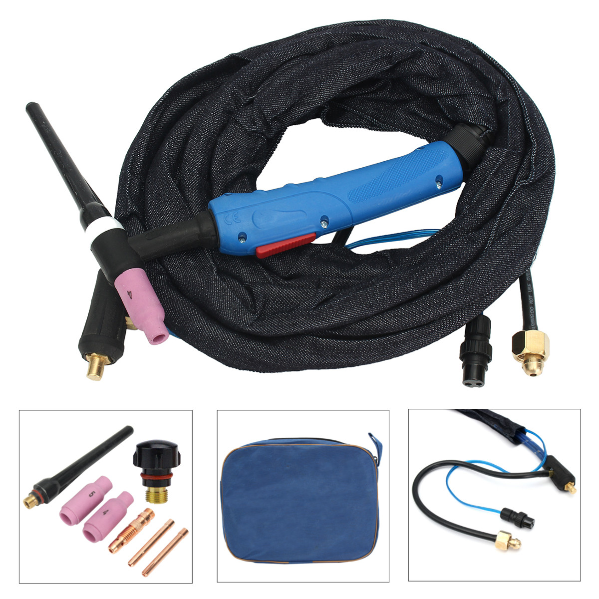 WP-17F 12Foot Air-Cool Tig Welding Torch Kit Complete Flexible Head Body Collet