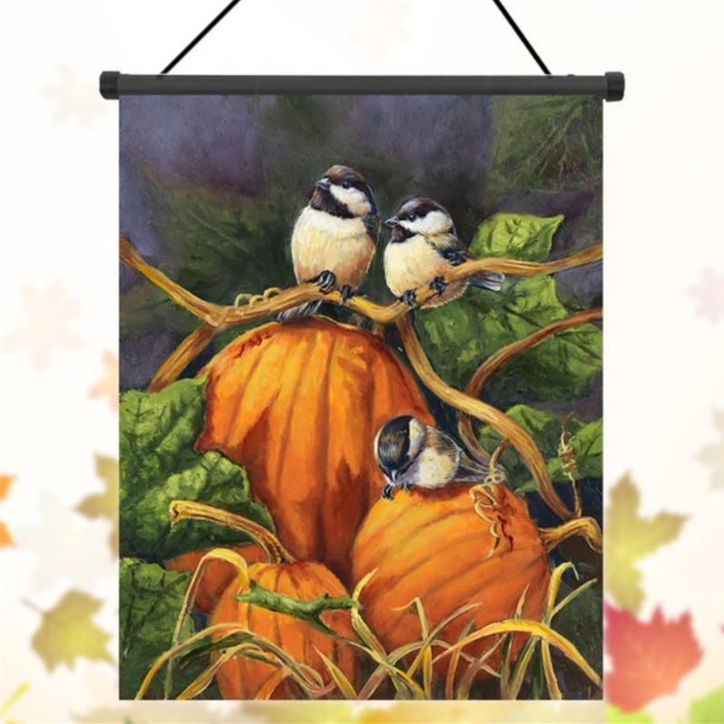 30x45см благодарение полиэфирные тыкв птицы приветствовать флаг украшение сада праздник
